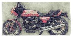 Moto Guzzi Le Mans 1 - Sports Bike - 1976 - Motorcycle Poster - Automotive Art Bath Towel