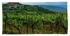 Motovun And Vineyards - Istrian Hill Town, Croatia Bath Towel