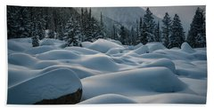 Mounds Of Snow In Little Cottonwood Canyon Bath Towel