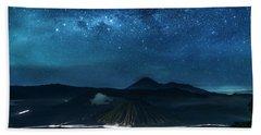 Mount Bromo Resting Under Million Stars Hand Towel