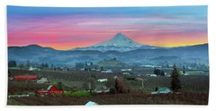 Mount Hood Over Hood River At Sunset Hand Towel
