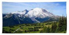 Hand Towel featuring the photograph Mount Rainier At Sunrise by Lynn Hopwood