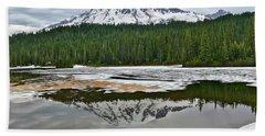 Mount Rainier From Reflection Lakes Bath Towel