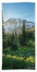 Mount Rainier Golden Meadows Light And Shadows Hand Towel
