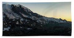 Mount Rainier Sunset Light Panorama Hand Towel by Mike Reid