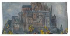 Bath Towel featuring the painting Mount Saint Michael by Rod Ismay