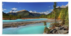 Bath Towel featuring the photograph Mount Saskatchewan by John Poon