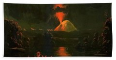 Mount St Helens Erupting At Night Bath Towel