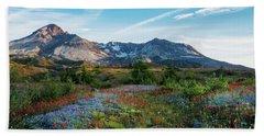 Mount St Helens Glorious Field Of Spring Wildflowers Hand Towel by Mike Reid