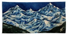 Hand Towel featuring the painting Mountain-2 by Tamal Sen Sharma