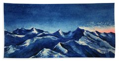 Hand Towel featuring the painting Mountain-4 by Tamal Sen Sharma