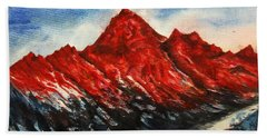 Hand Towel featuring the painting Mountain-7 by Tamal Sen Sharma