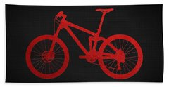 Mountain Bike - Red On Black Bath Towel by Serge Averbukh