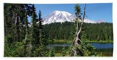 Mountain Lake And Mount Rainier Bath Towel by Ansel Price