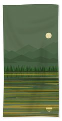 Bath Towel featuring the digital art Mountain Lake Moon by Val Arie