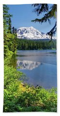 Mountain Lakre Reflection Hand Towel by Ansel Price