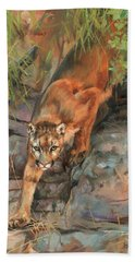 Bath Towel featuring the painting Mountain Lion 2 by David Stribbling