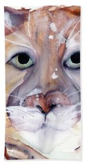 Bath Towel featuring the painting Mountain Lion by Dawn Derman
