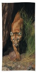 Bath Towel featuring the painting Mountain Lion Emerging From Shadows by David Stribbling