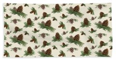 Mountain Lodge Cabin In The Forest - Home Decor Pine Cones Bath Towel
