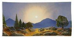 Mountain Meadow In Moonlight Hand Towel