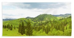 Mountain Panorama In Bucovina County - Romania Bath Towel