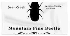 Mountain Pine Beetle Black On White Bath Towel