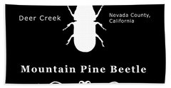 Mountain Pine Beetle White On Black Bath Towel