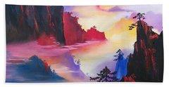Mountain Top Sunrise Bath Towel by Sharon Duguay