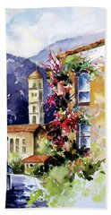 Bath Towel featuring the painting Mountain Town, Spain by Rae Andrews