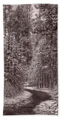 Mountain Trail Yellowstone Bw Bath Towel