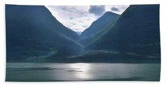 Mountains Along Lustrafjorden Hand Towel