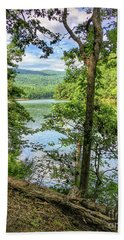 Bath Towel featuring the photograph Mountains, Lake And Trail by Kerri Farley