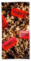 Movie Tickets On Scattered Popcorn Bath Towel