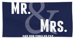Mr And Mrs And Cat Bath Towel