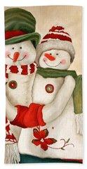 Mr. And Mrs. Snowman Vintage Bath Towel
