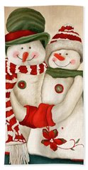 Mr. And Mrs. Snowman Vintage Bath Towel