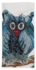 Mr. Blue Owl Hand Towel