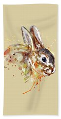 Hand Towel featuring the mixed media Mr. Bunny by Marian Voicu