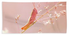 Mr Pink - Pink Grassshopper Hand Towel by Roeselien Raimond
