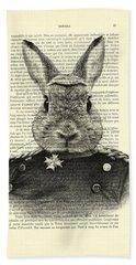 Rabbit Portrait In A Suit Bath Towel