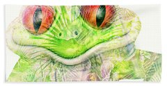 Mr Ribbit Bath Towel by Pamela Williams