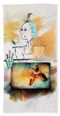 Mrs. Darwin's Theory Of Evolution Self Portrait  Bath Towel