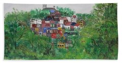 Hand Towel featuring the painting Mt. Adams  Cincinnati Ohio by Diane Pape