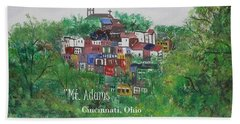 Hand Towel featuring the painting Mt Adams Cincinnati Ohio With Title by Diane Pape