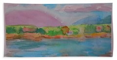Hand Towel featuring the painting Mt Desert From Marlboro Beach by Francine Frank
