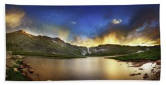 Mt. Evens Summit Lake Sunset Bath Towel