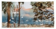 Mt Field Gum Tree Silhouettes Against Salmon Coloured Mountains Hand Towel