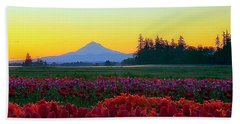 Mt. Hood Sunrise And Tulip Field Bath Towel