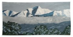 Hand Towel featuring the painting Mt Princeton Co by Norm Starks